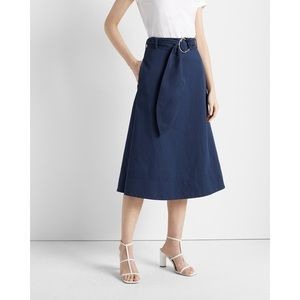Club Monaco • Linen Blend Belted A-Line Midi Skirt